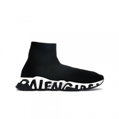Authentic Balenciaga Speed Graffiti Trainers Black White Women